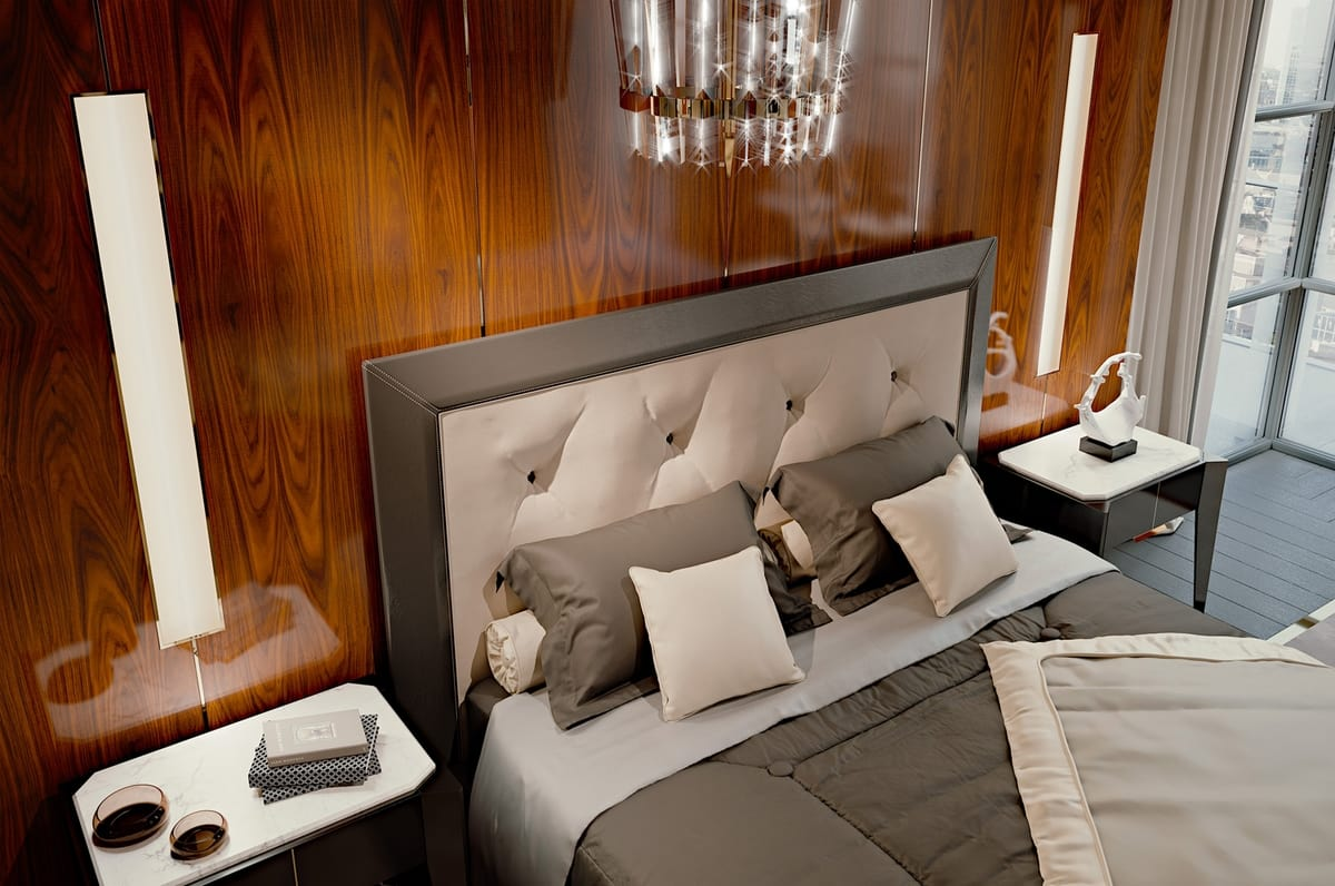 PARK AVENUE Bed, Luxury bed with leather headboard