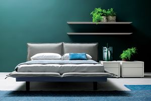 PILLOW, Double bed with upholstered double headboard