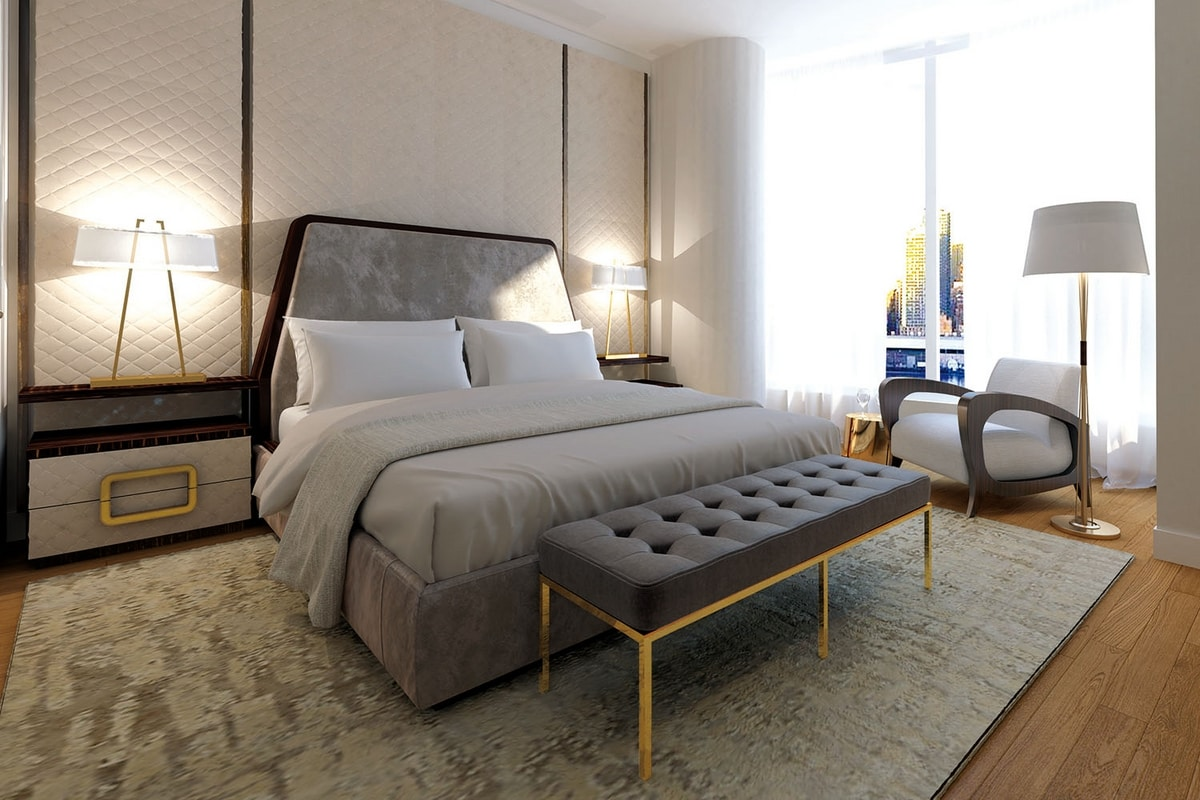 Richard, Bed with upholstered headboard
