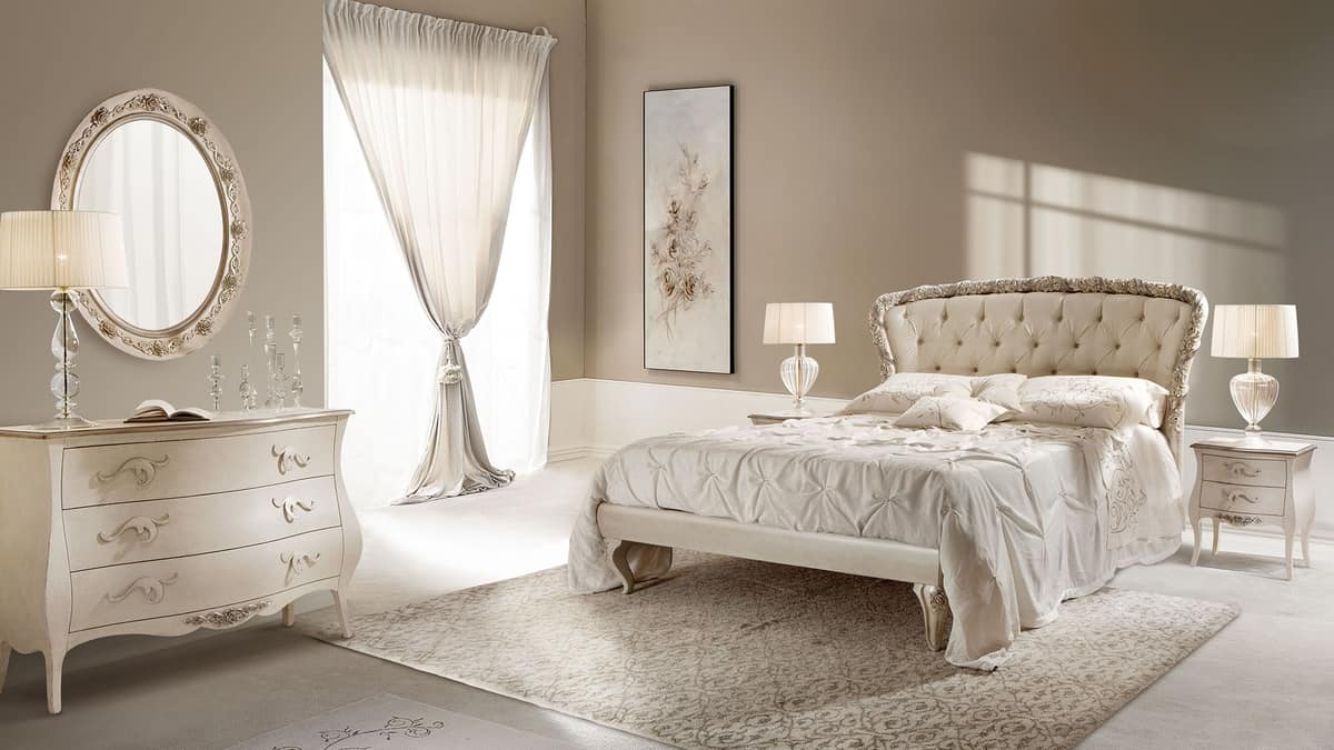 Rose bed, Double bed in carved wood, padded, quilted