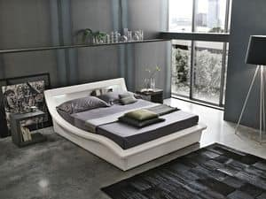 SARDEGNA BD447, Double bed with headboard with storage compartment