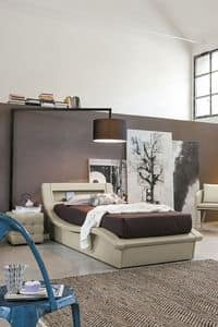 SARDEGNA SB447, Single bed with headboard with storage compartment.