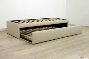 Single Bed with pull-out second bed, Retractable double pull-out bed that becomes a double bed