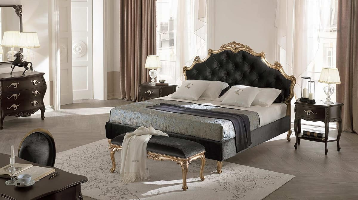 Sissi Capitonnè bed, Solid wood bed, headboard and bedframe padded