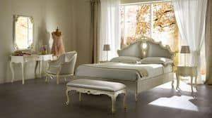 Sissi upholstered bed, Upholstered bed made of solid wood, for luxury hotels