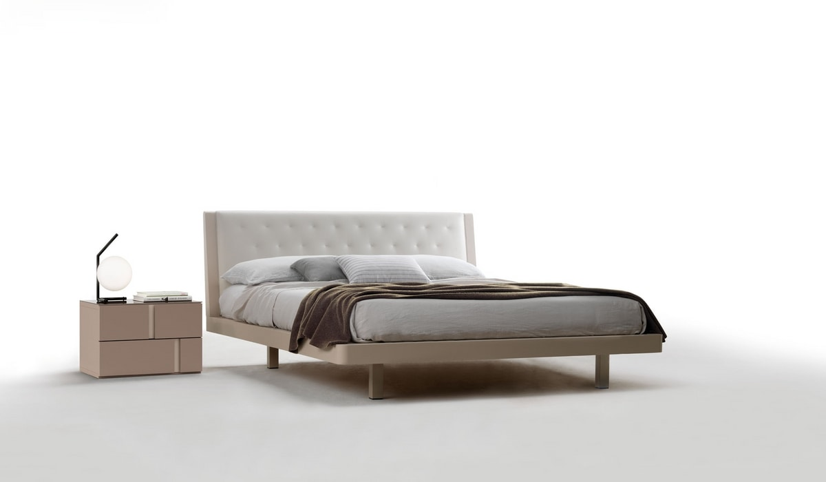 SMERALDO, Double bed with quilted headboard