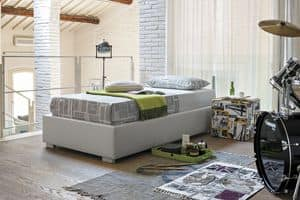 SOMMIER SB451, Single bed upholstered in soft-touch, modern style