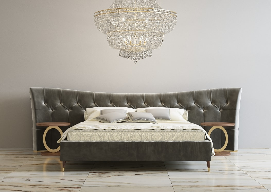 Sophie, Bed with precious upholstered headboard