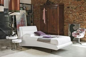 STROMBOLI SB439, Single bed with upholstered headboard, effect of mid-air floating