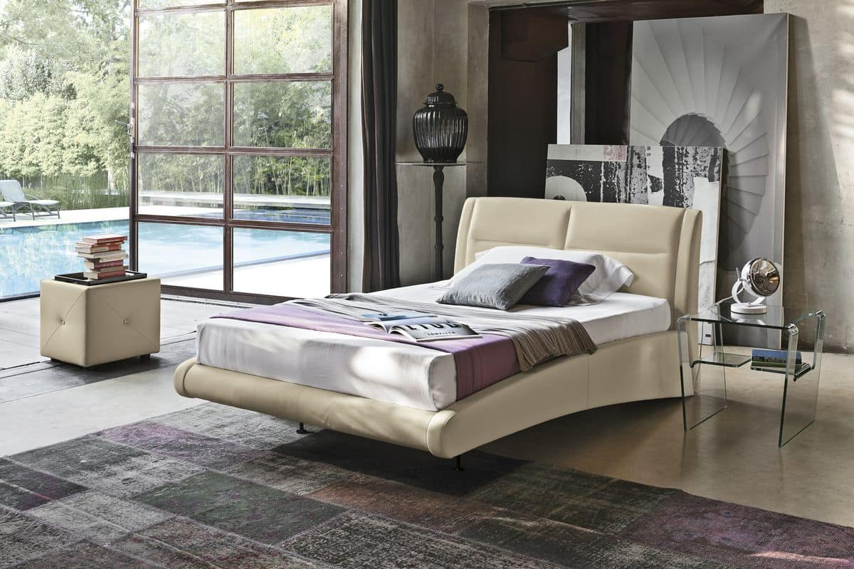 STROMBOLI SD439, Modern upholstered semi-double bed suited for hotel