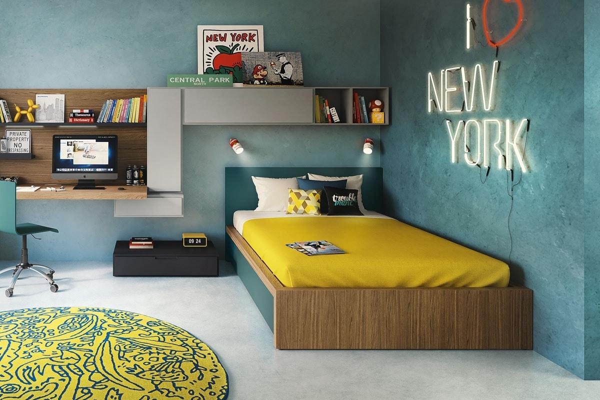 Tom padded, Upholstered bed for kid bedroom
