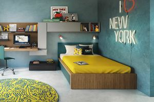 Tom padded, Upholstered bed for kid bedroom