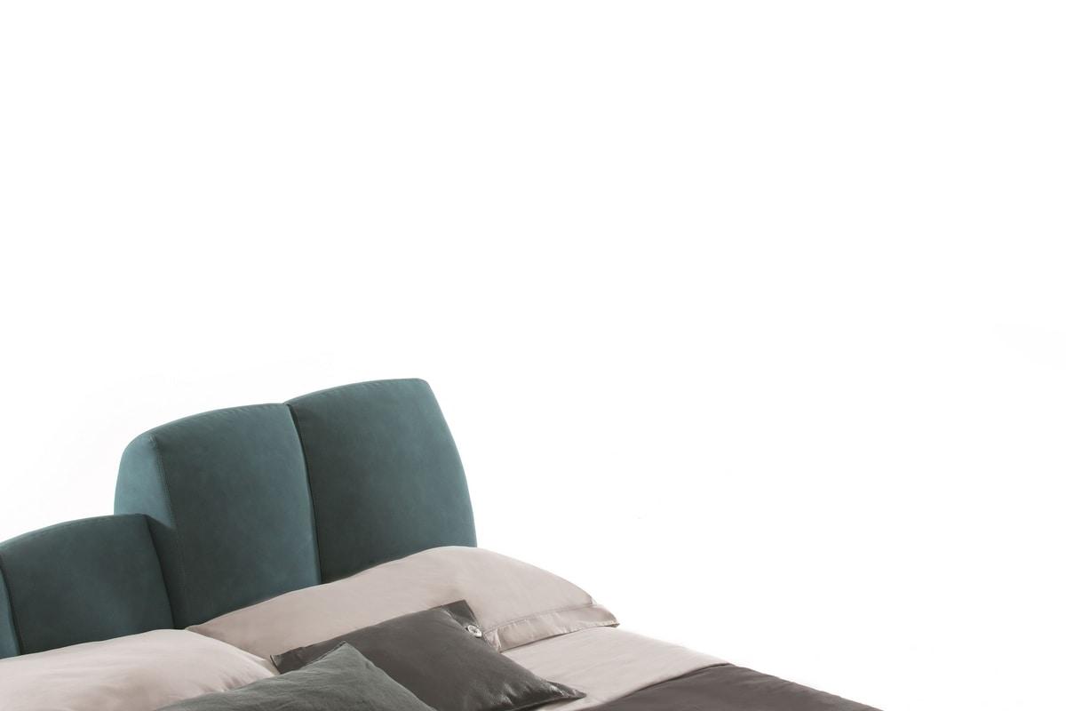 TUNY, Stuffed bed, adjustable headboard, in leather or fabric