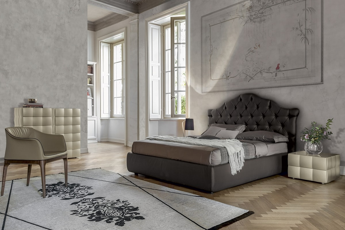 VENEZIANO, Upholstered bed with capitonné headboard