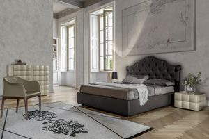 VENEZIANO, Upholstered bed with capitonn� headboard