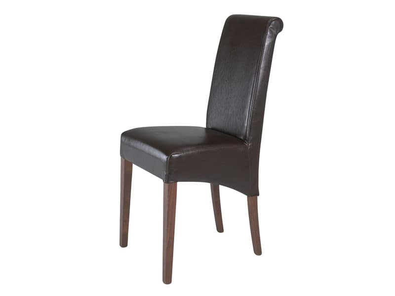 0323, Fully upholstered chair for restaurant, with tall backrest