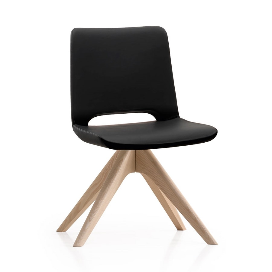 Angy open, Padded chair, with wooden base
