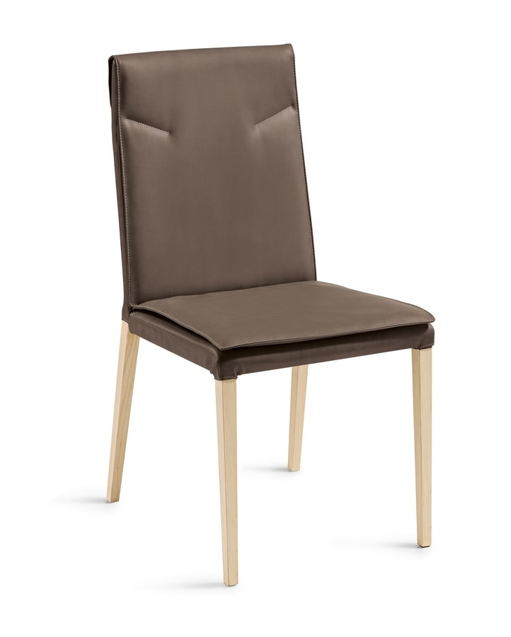 Ariel wooden legs, Chair covered in leather, with wooden legs