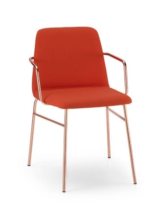 ART. 0034-MET-TU-CB BARDOT, Upholstered chair with metal armrests