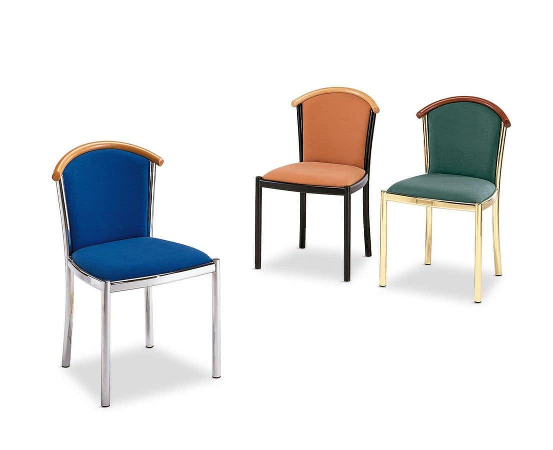 Art.Dolly, Chair with chromed steel frame, upholstered seat and back, fabric covering, for contract and domestic use