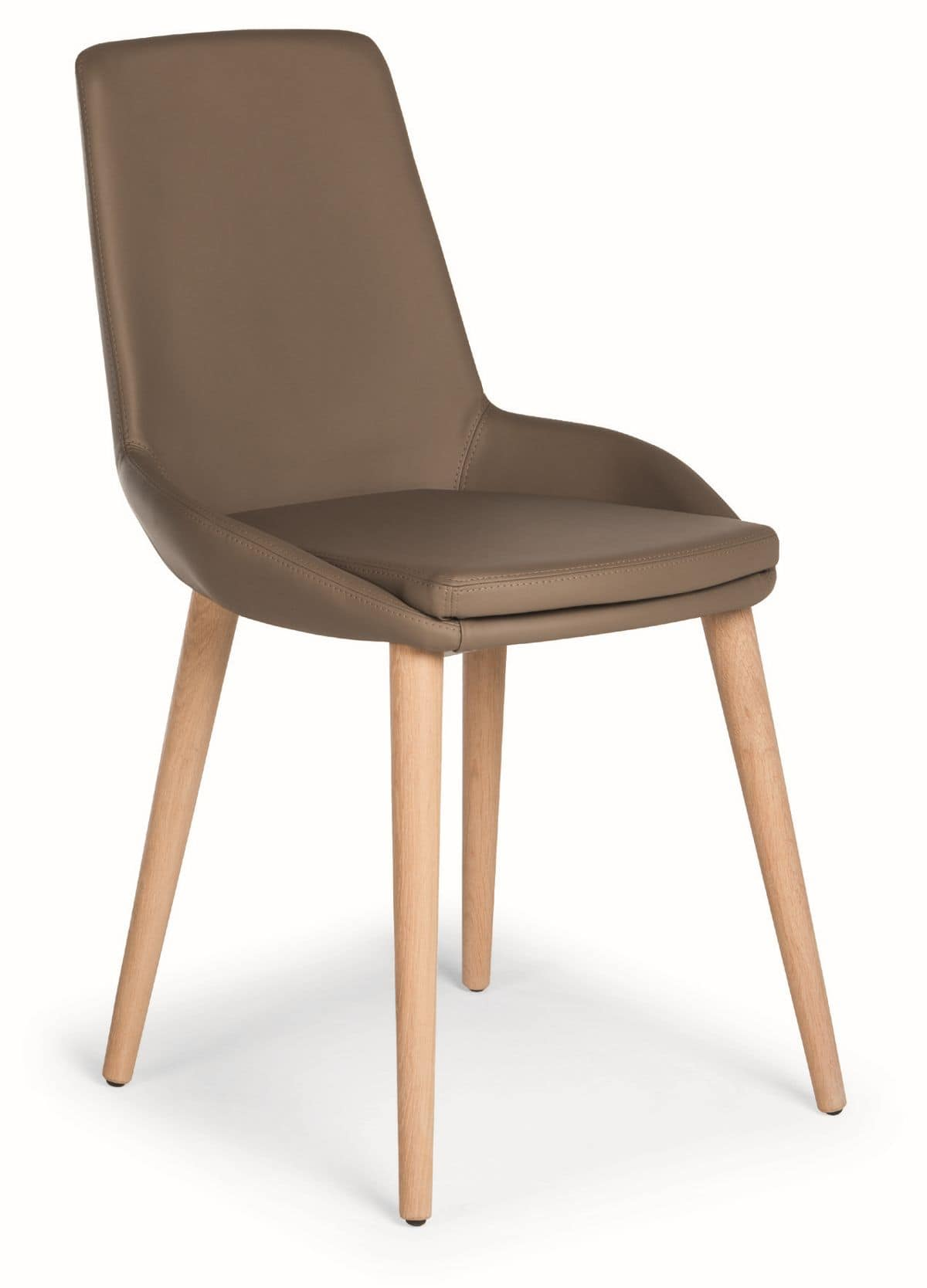Baxi W, Chair with wooden legs and padded shell