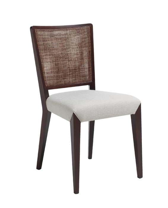 C38, Wooden chair, upholstered and covered in fabric seat, mesh backrest, for contract and domestic environments