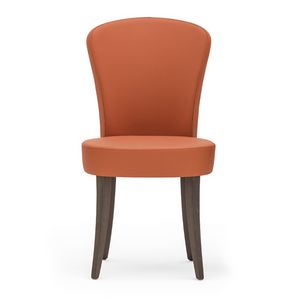 Euforia 00111, Modern chair in solid wood, upholstered seat and back