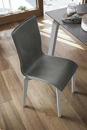 GLAMOUR WOOD SE135, Chair in solid wood, upholstered seat and back, in modern style