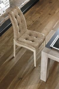 GRENOBLE SE180, Chair in varnished wood and upholstered tufted