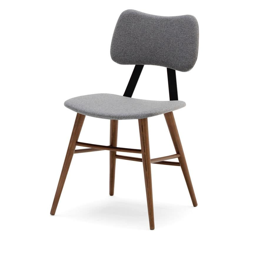 Kora, Chair in beech wood, upholstered seat and back