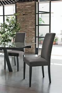 LUGANO SE504, Chair with wooden base, padded seat and back, fabric covering, in a modern style
