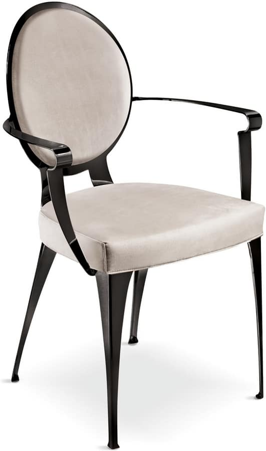 Miss chair with armrests and padded backrest, Padded chair with iron structure