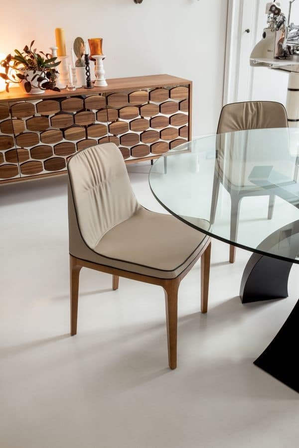 MIVIDA chair, Soft chair polyurethane, wood and leather, for restaurants