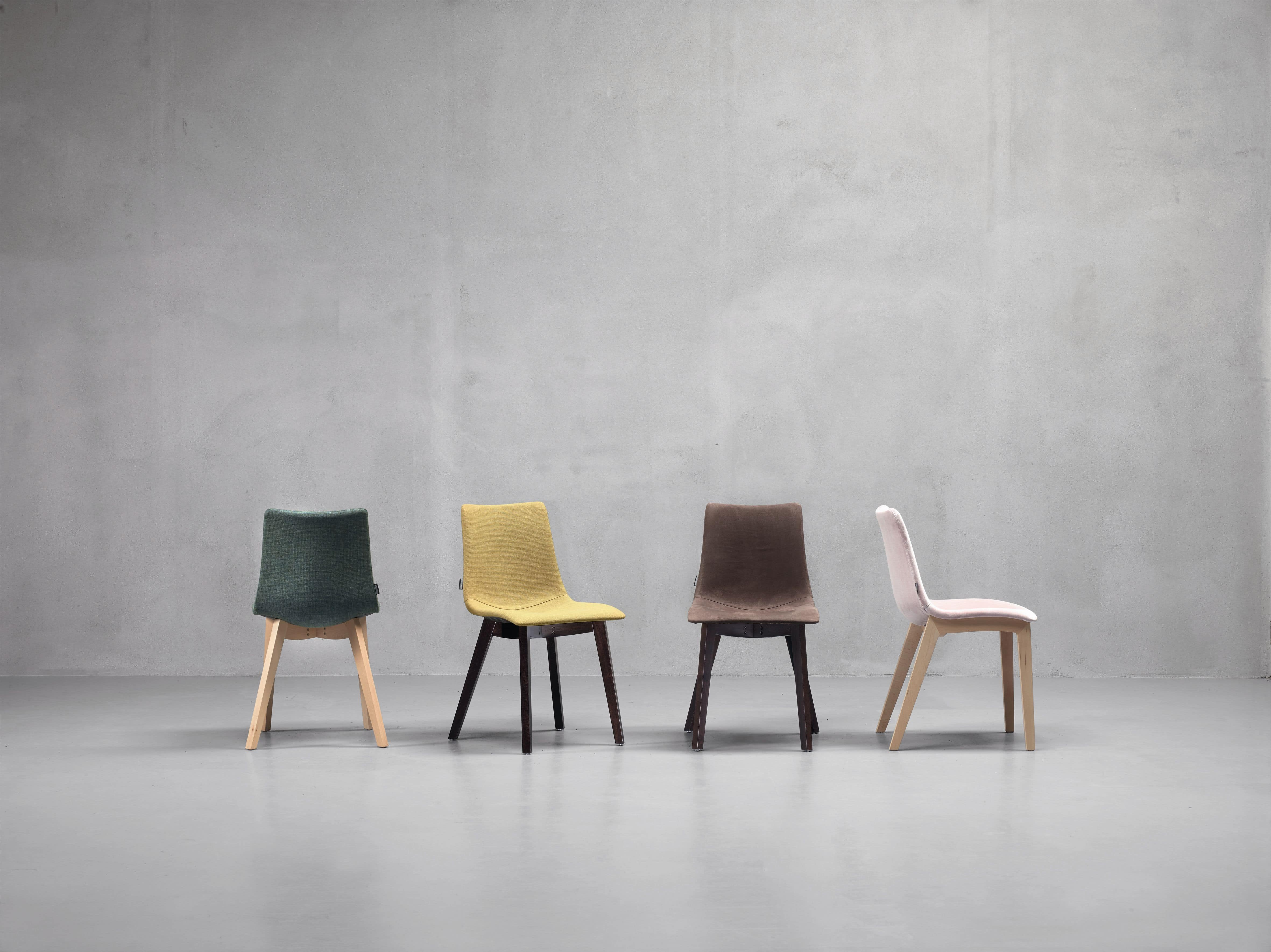 Natural Zebra Pop, Chair with padded seat, legs in wood