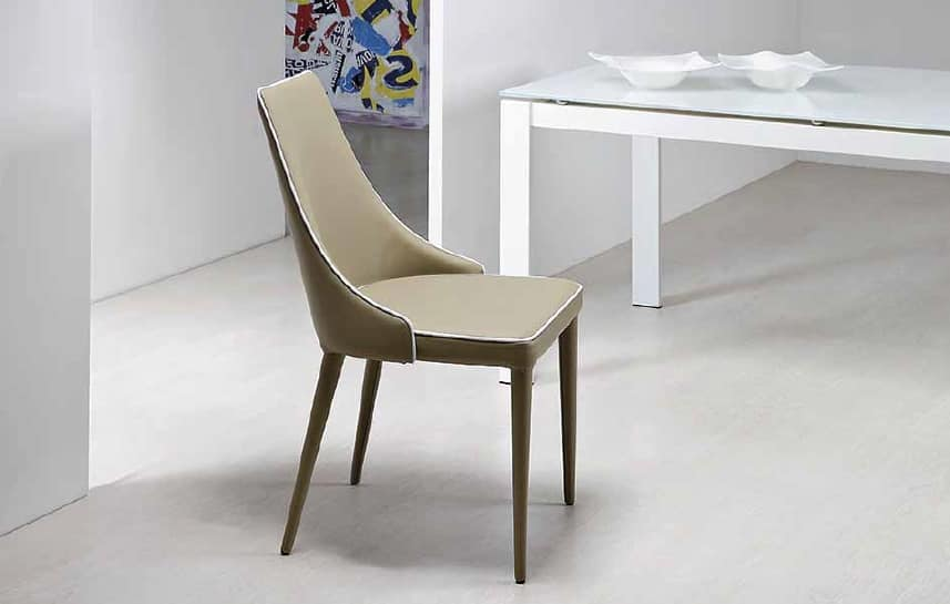 Nives, Upholstered chair with enveloping backrest
