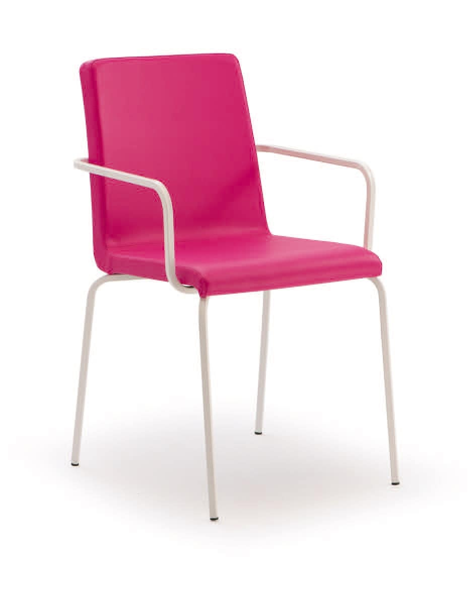 PL 511, Upholstered metal chair with arms, for restaurants