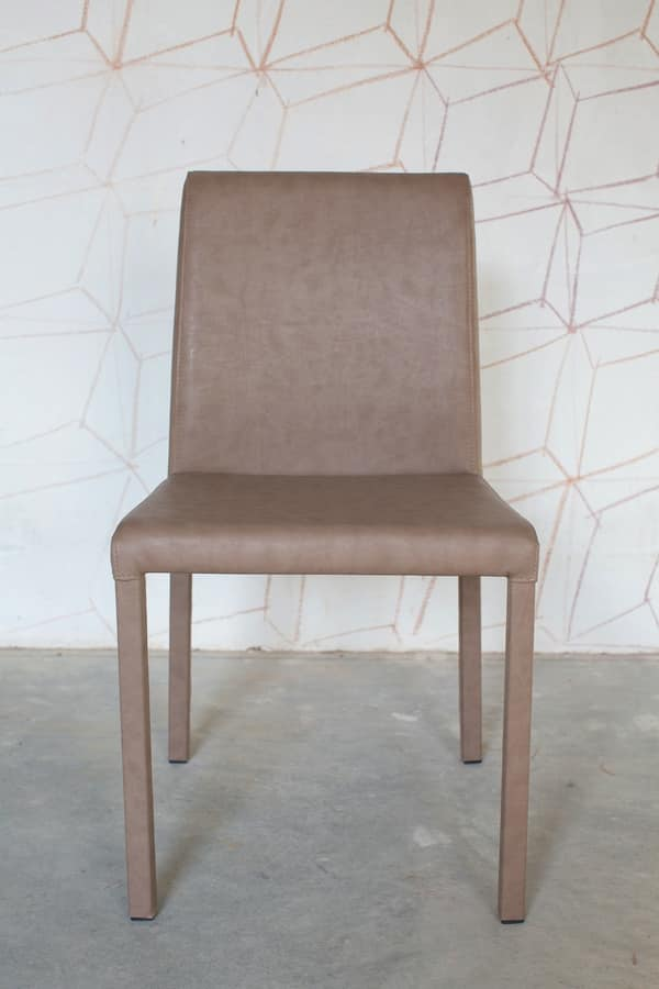 Possagno bassa, Modern leather chair with tubular 25x25 mm
