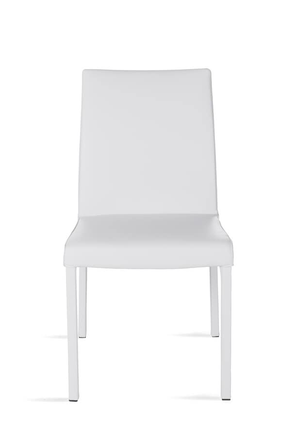 Possagno XL, Chair with seat and backrest in leather, square tube frame