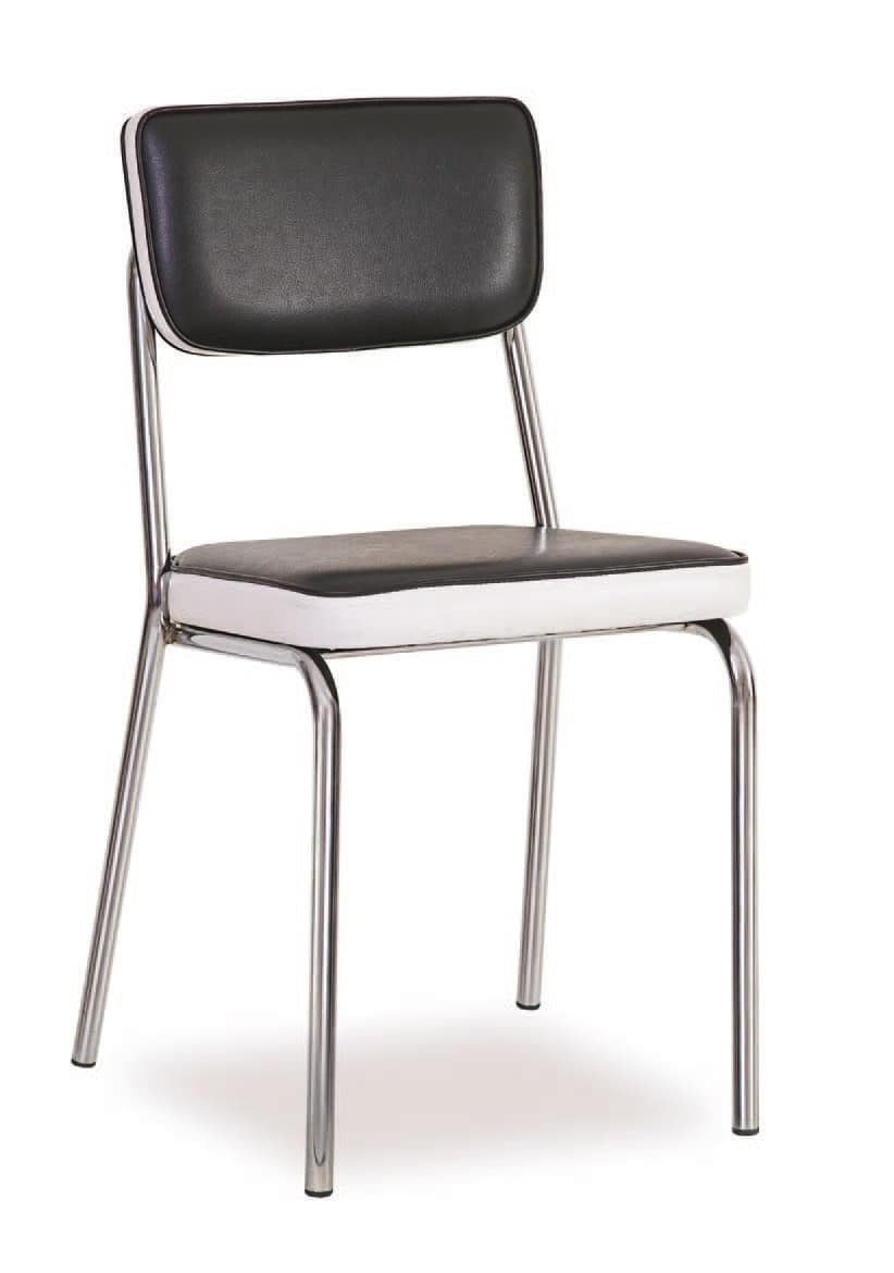 SE 1957, Padded metal chair, upholstered in faux leather