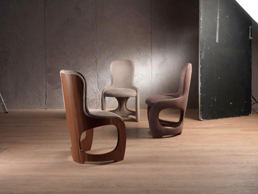 SE49 Venere chair, Soft chair with backrest in veneered canaletto walnut