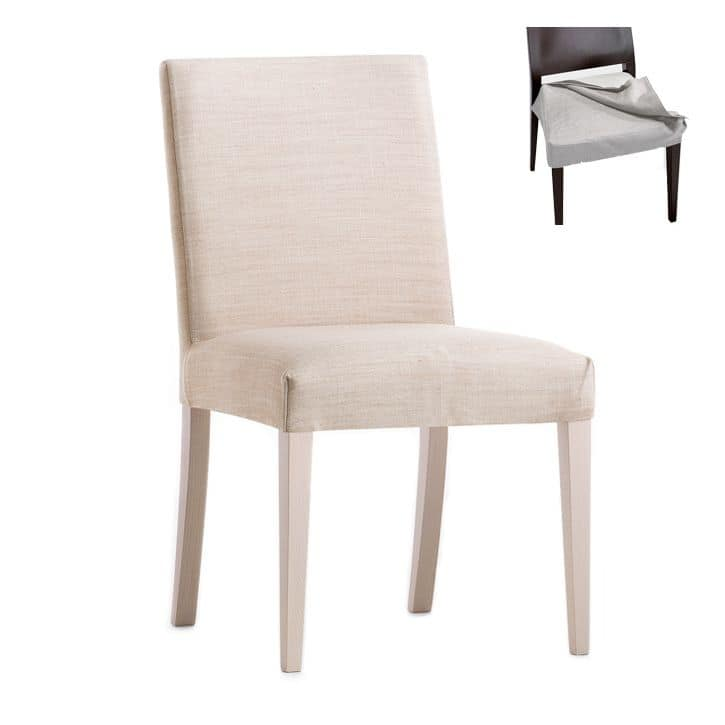 Zenith 01616, Chair with wooden frame, upholstered seat and back, removable fabric covering, for contract and domestic use