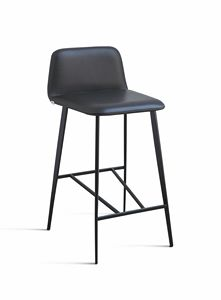 ART. 0032-MET BARDOT, Metal design stool in leather, for bars