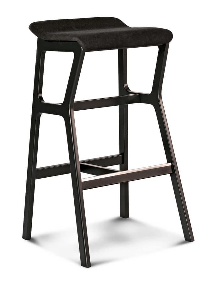 ART. 0015-H77-IMB STOOL NHINO, Stool in beech, asymmetrical structure, padded seat