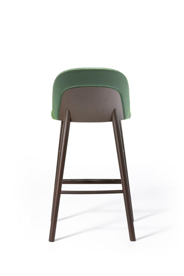 Doc ST, Upholstered stool with varnished ash wood structure