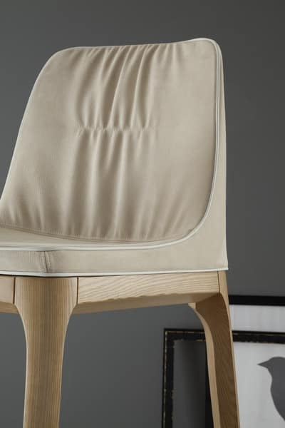MIVIDA stool, Stool with upholstered seat and back in fabric or leather