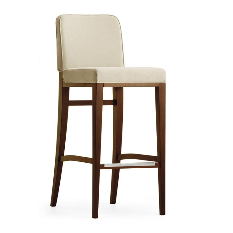 Opera 02281, Wooden stool with chromed footrest
