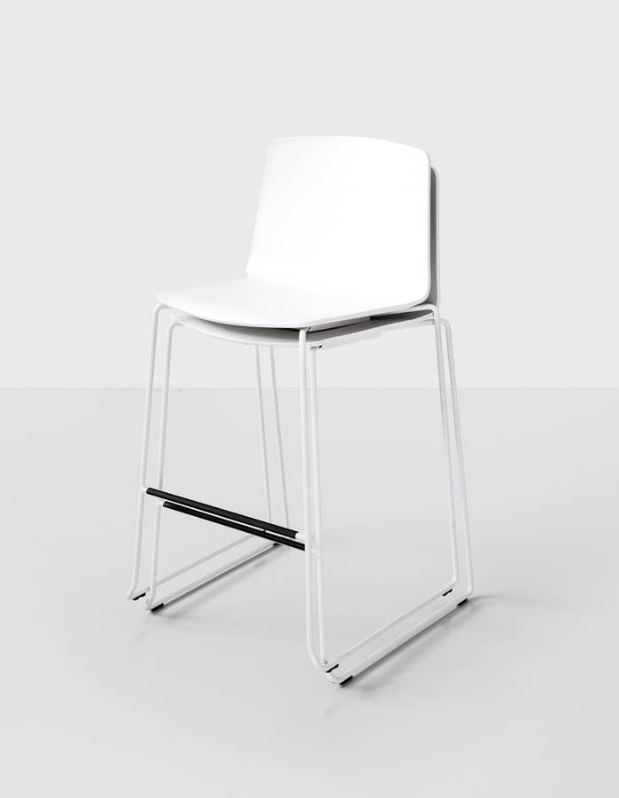 Rama Stool padded, Stackable stool in rod, covered with cloth