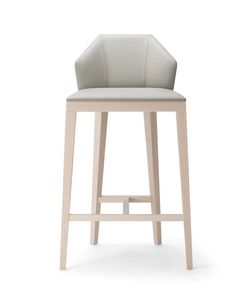 ROCK STOOL 020 SG, Modern stool, with a geometric backrest