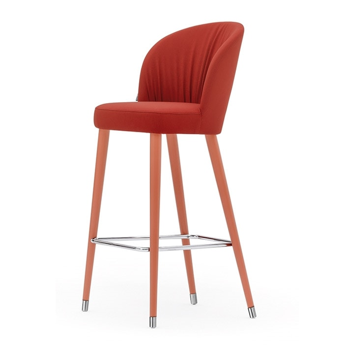 Rose 03980, Metal stool with pleated upholstery