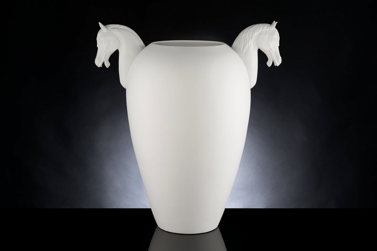 Horse Big Vase, Decorative vase in worked ceramic